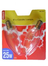 Lamp 25w SBC Clear Candle Lamp 35mm Pack of 2